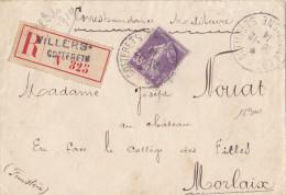 12900# SEMEUSE N° 142 / LETTRE RECOMMANDEE CORRESPONDANCE MILITAIRE Obl VILLERS COTTERETS AISNE 1914 MORLAIX FINISTERE - Postmark Collection (Covers)