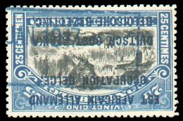 25 Centimes Mols Surchargé E.A.A. Avec Oblitération Télégraphique Bleue D'origine Allemande (cachet Du Chemin De Fer De - Ruanda-Urundi