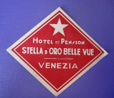 HOTEL ALBERGO PENSION STELLA STAR VENEZIA VENISE VENICE ITALY LUGGAGE LABEL ETIQUETTE AUFKLEBER DECAL STICKER - Hotel Labels