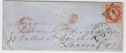 France, 1862, 40 C. Paris  Pour Londres,   S 911 - Poststempel (Briefe)