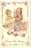 Petites Filles Avec Fleurs Et Cadeaux    ( Cp Avec Brillants ) - Fête Des Mères