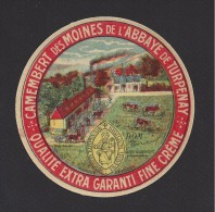 Etiquette De  Fromage (petit) Camembert  -  Des Moines  -  Abbaye De Turpenay  à  (Saint Benoit La Forêt) ( 37 ) - Formaggio