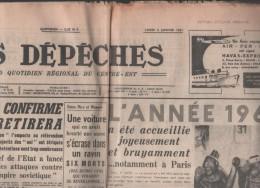 LES DEPECHES 02 01 1961  DIJON - LAOS - MANIFESTATIONS BRUXELLES - PARIS 1er JANVIER - TELECOMUNICATIONS SATELLITES - - Giornali