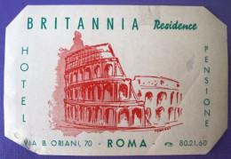 HOTEL ALBERGO MOTEL PENSIONE RESIDENCE BRITANNIA ROMA ITALIA ITALY TAG STICKER DECAL LUGGAGE LABEL ETIQUETTE AUFKLEBER - Hotel Labels