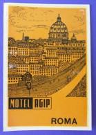HOTEL ALBERGO MOTEL PENSIONE MOTEL AGIP ROMA ITALIA ITALY TAG STICKER DECAL LUGGAGE LABEL ETIQUETTE AUFKLEBER - Etiketten Van Hotels