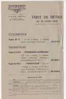 Tarifs MOTOCONFORT Cyclomoteurs Velemoteurs 1948 - France