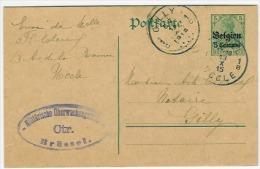 Entier/postwaarde 5 Centimes/5 Pf. Ukkel 1915  Naar Gilly + Ctrl Brussel - WW I