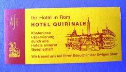 HOTEL ALBERGO MOTEL PENSIONE QUIRINALE ROMA ITALIA ITALY MINI STICKER DECAL LUGGAGE LABEL ETIQUETTE AUFKLEBER - Etiketten Van Hotels