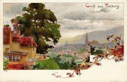 [DC5033] CARTOLINA - GERMANIA - GRUSS AUS FREIBURG - ILLUSTRATOR KLEY - Viaggiata 1903 - Old Postcard - Non Classificati