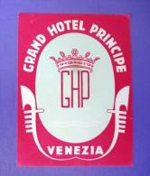 HOTEL ALBERGO MOTEL PENSIONE MOTEL PRINCIPE VENEZIA ITALIA ITALY TAG STICKER DECAL LUGGAGE LABEL ETIQUETTE AUFKLEBER - Hotel Labels