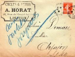 TB 562 - Lettre - Cycles & Autos A.HORAT  à  LISIEUX - Marcophilie (Lettres)