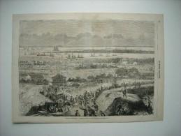 GRAVURE 1862. GUERRE D'AMERIQUE. CAMPEMENT DES TROUPES FEDERALES DEVANT BEAUFORT........ - Stiche & Gravuren