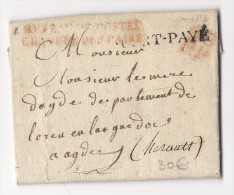 Lettre En Port Payé (1823) : Voir Explications Dans Annonce - Marcophilie (Lettres)