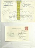 70 - Haute-saône - FOUGEROLLES - Facture COLIN - Tissus, Confections – 1945 - REF C2 - France