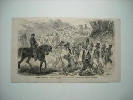 GRAVURE 1862. GUERRE D'AMERIQUE. ESCLAVES FUGITIFS SE RENDANT AUX TRAVAUX DE FORTIFICATIONS EXECUTES A PORT-ROYAL....... - Stiche & Gravuren