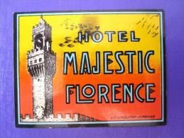 HOTEL ALBERGO MOTEL PENSIONE MAJESTIC SMALL FLORENCE ITALIA ITALY TAG STICKER DECAL LUGGAGE LABEL ETIQUETTE AUFKLEBER - Hotel Labels