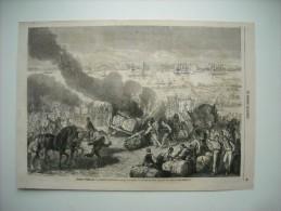 GRAVURE 1862. GUERRE D'AMERIQUE. CONFEDERES INCENDIANT UN CONVOI DE COTON, VIS-A-VIS DE BEAUFORT......... - Stiche & Gravuren