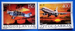 YUGOSLAVIA  60 YEARS OF CIVIL AIR TRANSPORT PLANE 1987 MNH SERIES  Mic.2213-2214 - Neufs