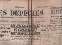 DEPECHES 04 01 1961 DIJON - CASBAH ALGER - INONDATIONS TOURAINE PARTHENAY SARTHE DEUX SEVRES - MARSEILLE - MISS FRANCE - 1950 - Oggi