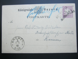 1882, Bahnpoststempel   , Stempel Auf Karte - Bavière