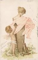 "BELLE CPA STYLE ART NOUVEAU : ANGE ANGELOT CUPIDON BUSTE STATUE "" COQUETTERIE "" 1900 - Illustratori & Fotografie"