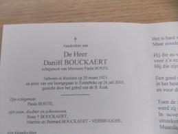 Doodsprentje Daniël Bouckaert Beselare 29/3/1925 Zonnebeke 26/7/2010 ( Paula Bonte ) - Religion & Esotericism