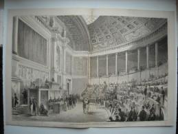 GRAVURE 1862. 1ERE SEANCE DU CORPS LEGISLATIF, PALAIS DU LOUVRE. CONSTITUTION DES BUREAUX, LE 28 JANVIER. EXPLICATIF.... - Prints & Engravings
