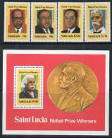 St Lucia 1980 - Nobel Prize Winners - Set + Miniature Sheet SG559-MS563 MNH Cat £3.75 SG2015 - St.Lucie (1979-...)