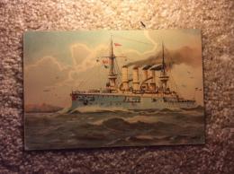 Kaiserliche Marine Postkarte Panzerkreuzer Roon Vor Helgoland  Postkarte Original 1909 - Other