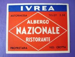 HOTEL ALBERGO MOTEL PENSIONE NO NAME NAZIONALE IVREA ITALIA ITALY STICKER DECAL LUGGAGE LABEL ETIQUETTE AUFKLEBER - Hotel Labels