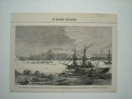 GRAVURE 1862. VUE D'HALIFAX, CAPITALE DE LA NOUVELLE ECOSSE, POINT DEBARQUEMENT TROUPES ANGLAISES ENVOYEES AU MEXIQUE... - Prints & Engravings