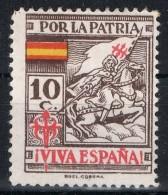 Sello 10 Cts Por La Patria, SANTIAGO, Coruña , Castaño Oscuro * - Spanish Civil War Labels