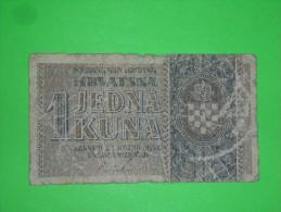 Croatia,NDH,1 Kuna,WW II,banknote,paper Money,bill,geld,vintage - Croatia
