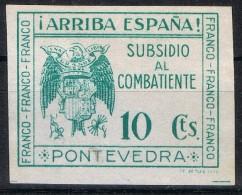 Sello Subsidio Combatiente PONTEVEDRA  10 Cts Sin Dentar, Papel Banco, Sofima 17 * - Spanish Civil War Labels