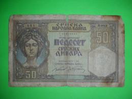 Yugoslavia,Serbia,German Occupation,WW II,50 Dinars,banknote,paper Money,bill,geld,vintage - Serbie