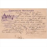 PUTP1803-LFTD1932TCFER.Tarjeta Postal De SUIZA.CHOCOLATE SUCHARD.Exposicion Universal PARIS 1900 - Ferias