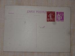 Entier Postal Neuf Type Paix +15c Semeuse - Cartes Postales Types Et TSC (avant 1995)