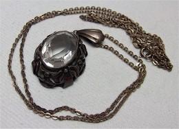 Antike Kette Und Anhänger Mit Klarem Stein - Silber 835 - Colliers/Chaînes