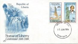 Liberia 1986 Monrovia Statue Of Liberty New York FDC Cover - Liberia