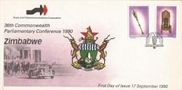 Zimbabwe 1990 Harare Commonwealth Parliament Conference Democracy Mace FDC Cover - Zimbabwe (1980-...)