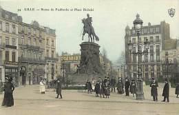 Dept Div- Nord  - Ref W114  - Lille - Statue De Faidherbe Et Place Richebe - Carte Colorisee - - Lille