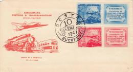 """Rumänien 1949 - 4 Fach Frankierung Auf Schmuckbrief """"Bucarest Posta 10 Dec.1949 - 1948-.... Republiken"""