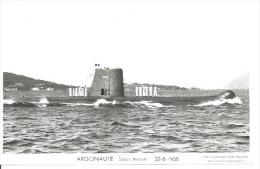 """CP PHOTO: """" ARGONAUTE """" - SOUS-MARIN - 22-8-1958   ( Animées -   BATEAU DE GUERRE  ) - Guerre"""