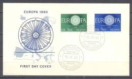 Europa 1960 Islande FDC Enveloppe Premier Jour YT N°301/302 - Europa-CEPT