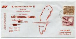 ENVELOPPE CONCORDE N°11 VOL CHARTER CONCORDE GOTEBORG - PARIS 17 JUIN 1979 - Concorde