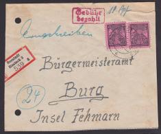 SBZ Seestadt Rostock 3, R-Brief Mit Teilbarfrankatur über 18 RPf Und 12 Pfg.(2) Mecklenburg-P.  Brief Beschnitten - Sowjetische Zone (SBZ)