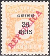 GUINÉ- (PORTEADO)-1911,  Tipo De 1904, Com Sobrecarga «REPUBLICA»   30 R.  * MH  Afinsa  Nº 14 - Portuguese Guinea