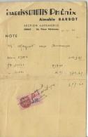 Note/ Etablissements Phénix/Aimable BARBOT/ Section Automobile/Dreux/ 1941    AC117 - Cars