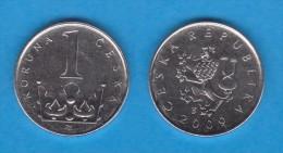 REPUBLICA CHECA   1  CORONA  2.009  Niquel-Acero   KM#7   EBC/XF      DL-11.091 - República Checa