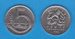REPUBLICA CHECA   5  CORONAS  1.993  Niquel-Acero   KM#8   MBC/VF      DL-11.092 - República Checa